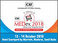 5th Edition of MEDex - Medical Exhibition & Conference will be held on 13-14 October, 2018 at Hotel Courtyard by Marriott, Madurai, Tamilnadu, India.