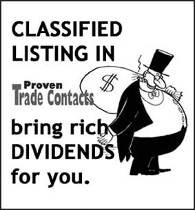 FREE Classified Listing in Proven Trade Contacts !